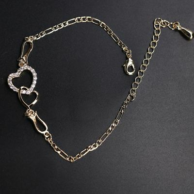 Fashion Charm Gold-color Jewelry Heart Shaped Love Crystal Bracelet 1PC