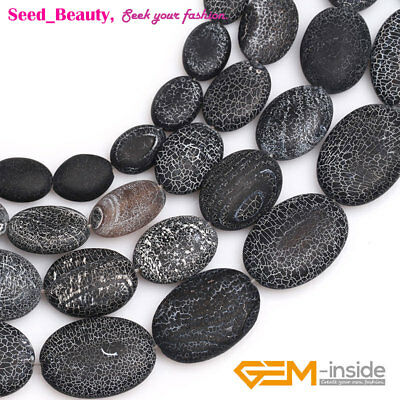 "Natural Oval Frosted Black Agate Beads For Jewelry Making Strand 15"" Wholesale"
