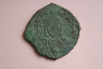 ANCIENT BYZANTINE BRONZE THEOPHILUS FOLLIS COIN 9th CENTURY AD