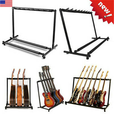 Basses Fold Stand 3 5 7 9 Holder Guitar Storage Rack Shelf Folding Collection US