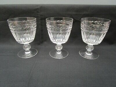 3 Stuart 'Arundel' Crystal Cut  Wine Glasses