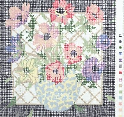 Primavera? Tapestry Canvas and Wool: Anemones in a Vase by Joanna Allen