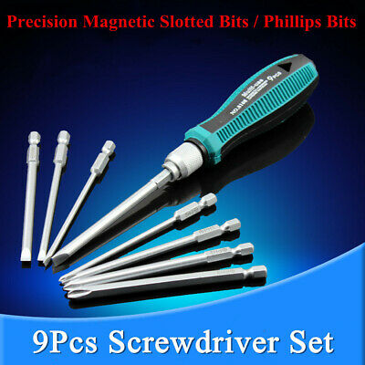 New 8 Magnetic Drill Bits + 1 Precision Screwdriver Torx Kit Set Repair Tools