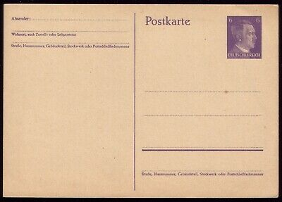 Germany 1941 - Third Reich 6pf Adolf Hitler Postcard
