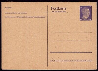 Germany 1941 - Third Reich 6pf Adolf Hitler Reply Postcard Part 1