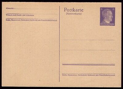 Germany 1941 - Third Reich 6pf Adolf Hitler Reply Postcard Part 2