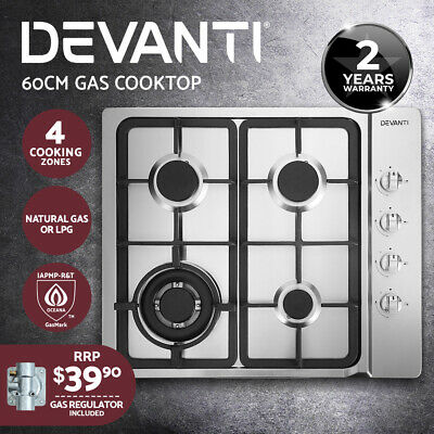 Devanti Gas Cooktop 60cm Kitchen Stove 4 Burner Cook Top NG LPG Stainless Steel
