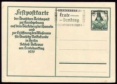 Germany 1935 - Third Reich Harvest Thanksgiving Day Special Postcard & Postmark