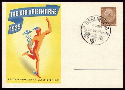 Germany 1939 - Third Reich Stamp Day Special Postcard & Berlin Postmark
