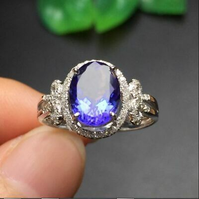 2.50Ct Oval Cut Blue Sapphire Halo Engagement Ring Solid 14K White Gold Finish