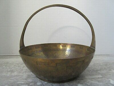 Old Vintage Arts & Crafts Hammered Brass Basket Bowl Germany Phoenix Mark
