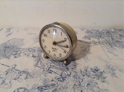 VINTAGE FRENCH Baby Japy ALARM CLOCK - Cream Case Working (3199)