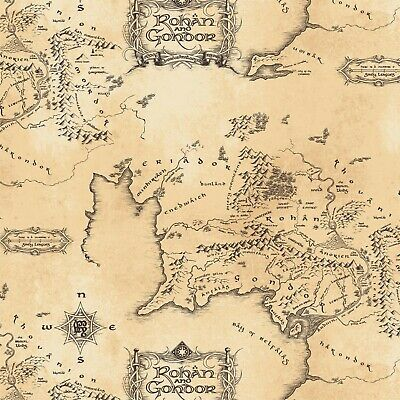Lord Of The Rings Map Cotton Camelot Quilt Fabric by the 1/2 yd