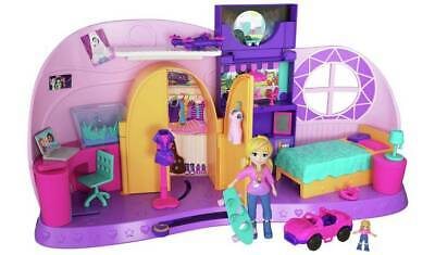 Polly Pocket Go Tiny! Room Playset For A Quick Takeoff To Adventure  NEW_UK