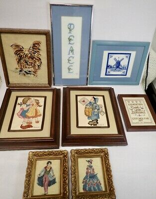 Lot of Vintage Cross Stitch & Needlepoint Pictures Country Sampler Yorkie Hummel