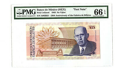 Mexico 1989 20th Anniversary of Fabrica de Billetes Test Note Unc