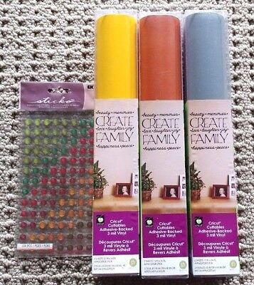 NEW~6 Cricut Adhesive Vinyl 12x24 Sheets in 3 colors+Sticko Harvest Epoxy Dots