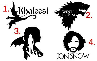 "Game of Thrones Decal Stickers 5"" Wall Car Laptop Jon Snow Daenerys Dragon Wolf"