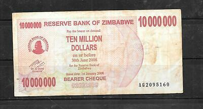 ZIMBABWE #55a 2008 10 MILLION DOLLARS VG USED BANKNOTE PAPER MONEY CURRENCY NOTE