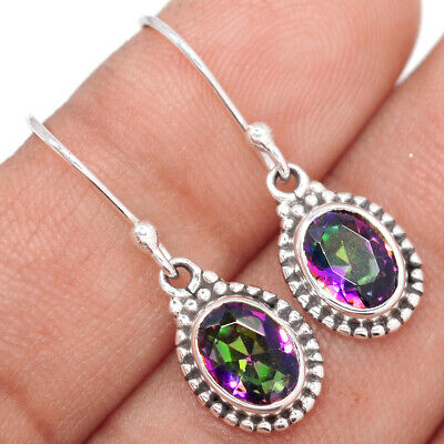 Rainbow Topaz 925 Sterling Silver Earrings Jewelry & Watches Stud Jewelry Ae59561