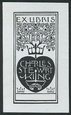 Rare Arts & Crafts Movement exlibris bookplate by Charles F A Voysey 1898