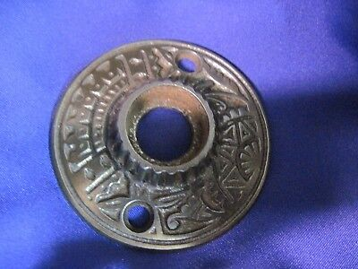 Victorian East Lake Cast Iron Rosette Doorknob Back Plate Steel Antique