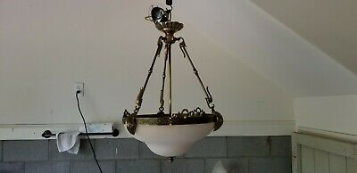 Elegant Vintage Brass & Alabaster Chandelier.  see description