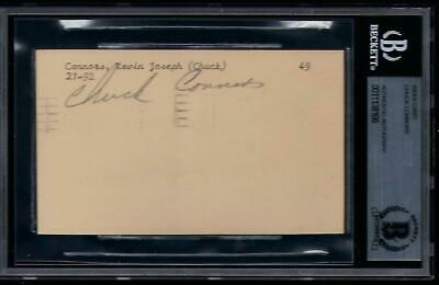 Chuck Connors (d.1992) Signed cut 1951 GPC 3x5 index card Autographed BAS Cubs