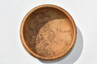 Vintage Hand Carved Wooden Bowl Depicting Seahorse,Stingray, Fish