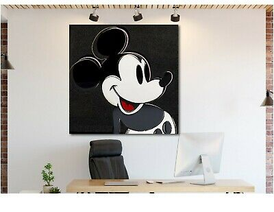Andy Warhol- Mickey Mouse Black - Pop Art - Framed Canvas