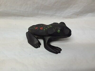 Antique WILTON Hand Painted Cast Iron FROG Match Holder or Salt Pinch - NICE!