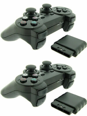 2x Black Wireless Shock Game Controller Joypad Pad for Sony PS2 Playstation 2