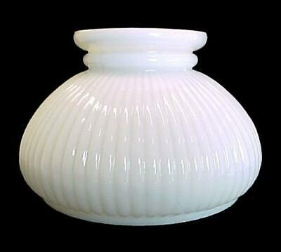 """Ribbed Milk Glass 7"""" Student Lamp Shade Desk Table Pole Chandelier Wall Sconce"""