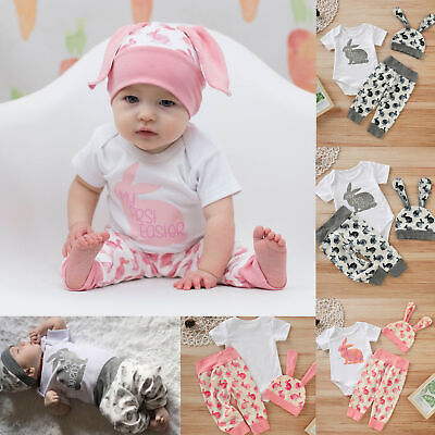 6fa564dab Newborn Baby Girl Boy Cartoon First Easter 3D Bunny Outfits Romper Hat  Pants Set