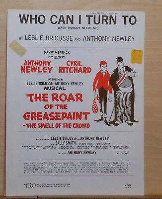 WHO CAN I TURN TO? from ROAR OF THE GREASEPAINT 1964 Sheet Music