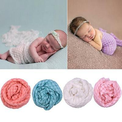 Baby Newborn Photography Photo Prop Stretch Wrap Knit Long Ripple Cloth GG