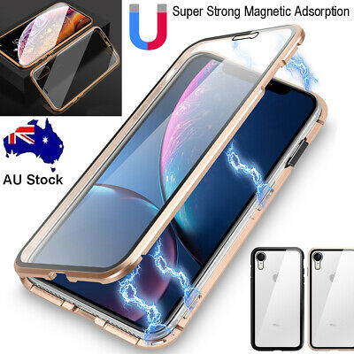 Front+Back Tempered Glass Magnetic Metal Case Cover Fr iPhone 7 8 Plus XR XS Max
