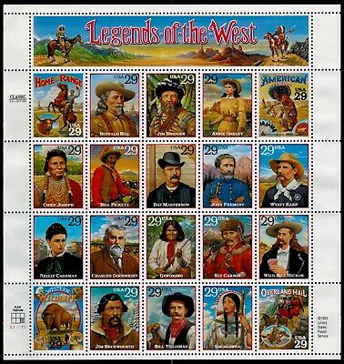 US Scott # 2869 Legends Of The West Stamp Sheet  MNH