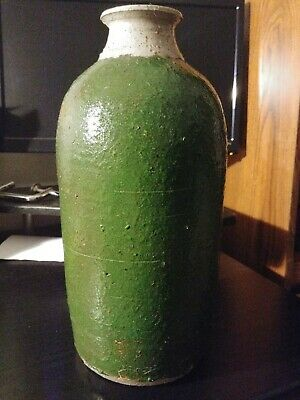 NICE!Old antique green vase pottery very unique definitely very old and valuable