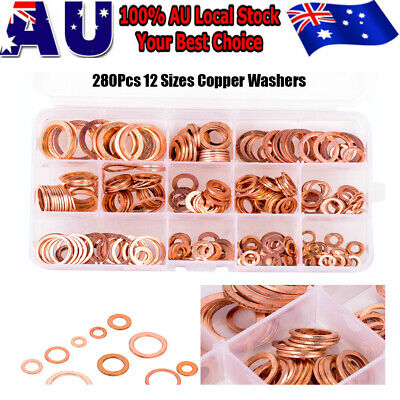 280Pcs 12 Sizes Solid Copper Washers Sump Plug Seal Set Assorted Kit with Box