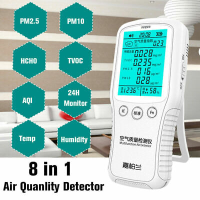 8In1 Air Quality Monitor PM2.5 PM10 Formaldehyde HCHO TVOC LCD Digital Detector
