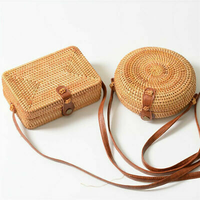 Handwoven Rattan Straw For Women Bali Basket Round Retro Beach Bag With Button