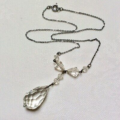 Vintage Early Art Deco Clear Crystal Glass Dropper Lavaliere Necklace