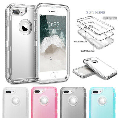 iPhone XR 6s 8 7 Plus Case Clear Defender Armor Heavy Duty Shockproof Full Cover