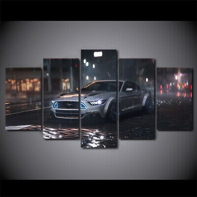 Ford Mustang Car In The Rain 5 Panel HD Canvas Prints Painting Wall Art Decor