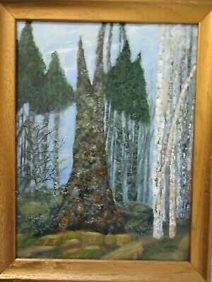 Contemporary Oil Painting on Board Signed Bill Rennie Dean Nova Scotia Forest