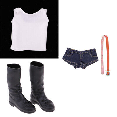 1/6 Scale Female Vest & Jean Shorts & Shoes Boot for 12inch Action Figures