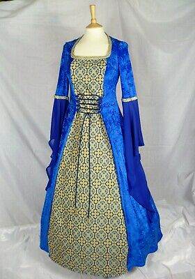 Royal Blue Medieval Gown Renaissance Dress Ready Made Size 16-18