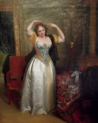 Antique FRENCH EMPIRE 19th Century Boudoir Interior Oil Painting of a Noble Lady