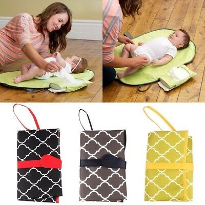 Portable Baby Diaper Pad Changing Mat Nappy Bag With Storage Pockets Foldable DM